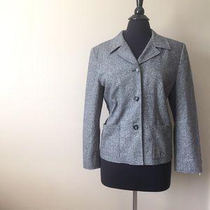 Ann Taylor Loft Gray Wool Lined Suit Jacket Blazer
